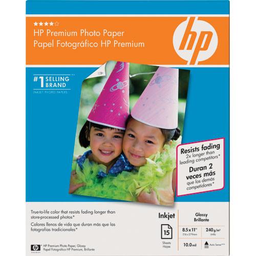 "HP Premium Glossy Photo Paper - 8.5x11"" - 15 Sheets"