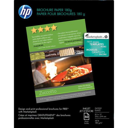 "HP Brochure & Flyer Paper (2-sided, Glossy) for Inkjet - 8.5x11"" (Letter) - 50 Sheets"