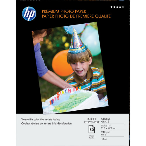"HP Premium Glossy Photo Paper - 8.5x11"" - 50 Sheets"