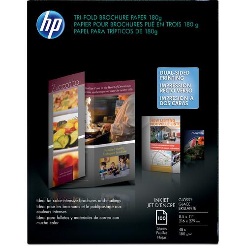 "HP Tri-Fold Brochure Paper - 8.5x11"" - 100 Sheets"