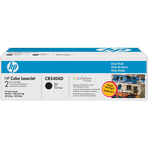 HP Color LaserJet 125A Black Toner Cartridge Dual Pack (CB540AD)