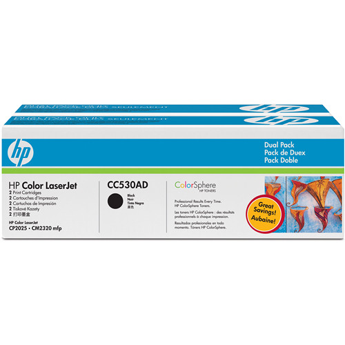 HP CC530AD Color LaserJet Dual Pack Black Print Cartridges