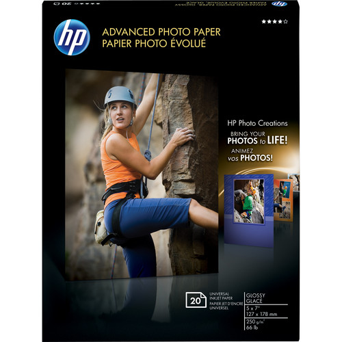 "HP Advanced Photo Paper (Glossy) - 5 x 7"" - 20 Sheets"