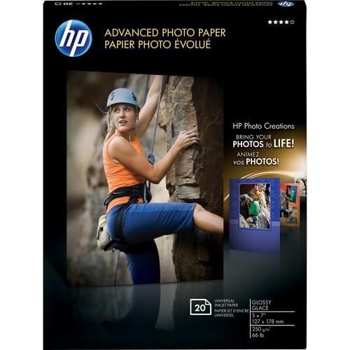 "HP Advanced Photo Paper (Glossy) - 5 x 7"" - 20 Sheets"