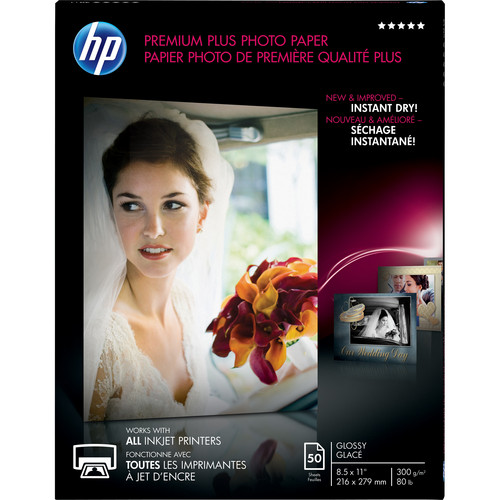 "HP Premium Plus Photo Paper, Glossy (50 Sheets, 8.5 x 11"")"