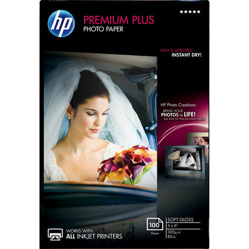 "HP Premium Plus Soft-Gloss Photo Paper (4.0 x 6.0"", 100 Sheets)"