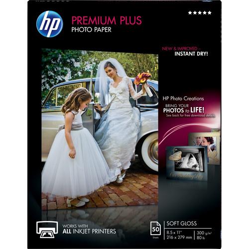 "HP Premium Plus Soft-Gloss Photo Paper (8.5 x 11"", 50 Sheets)"