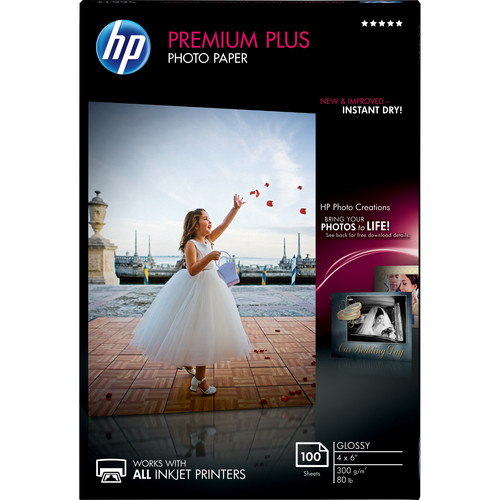 "HP Premium Plus Photo Paper, Glossy (100 Sheets, 4 x 6"")"