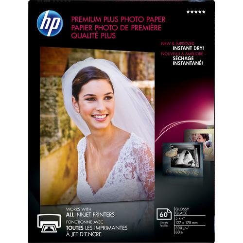 "HP Premium Plus Photo Paper, Glossy (60 Sheets, 5 x 7"")"