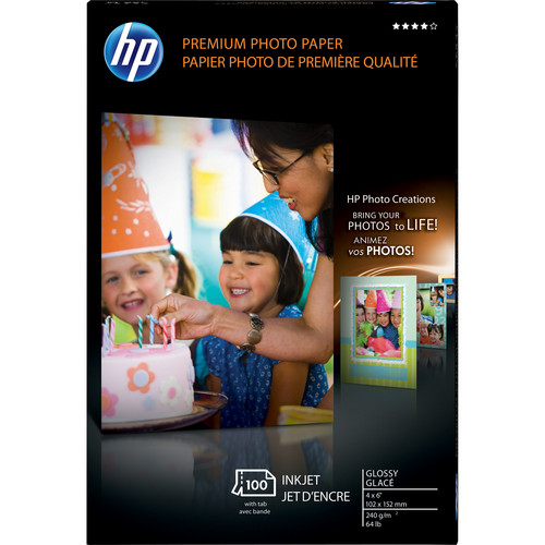 "HP Premium Glossy Photo Paper - 4x6"" - 100 Sheets"