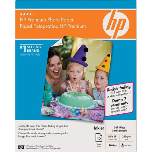 "HP Premium Soft-Gloss Photo Paper - 8.5 x 11"" - 15 Sheets"