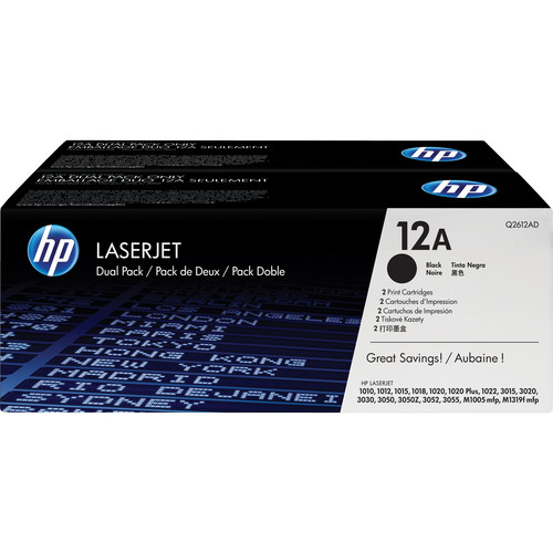 HP 12A Black LaserJet Toner Cartridges Dual Pack