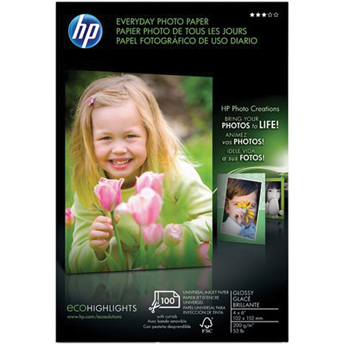 "HP Everyday Glossy Photo Paper (100 sheets - 4 x 6"") With Tab"