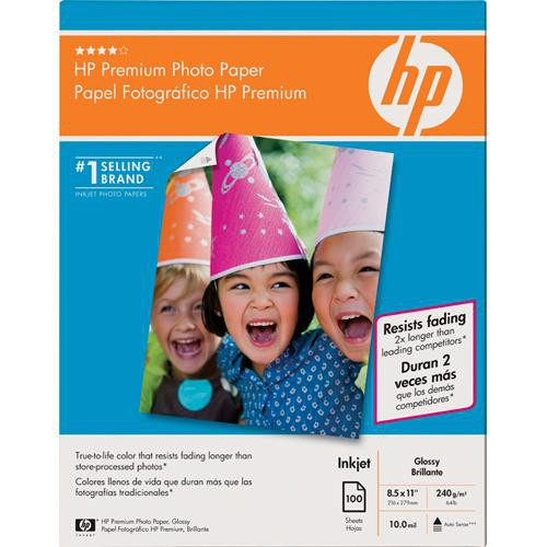 HP Premium Glossy Photo Paper - 8.5 x 11 - 100 Sheets