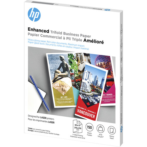 """HP Q6612A Laser Glossy Tri-Fold Brochure Paper (Letter, 8.5 x 11"""", 150 Sheets)"""