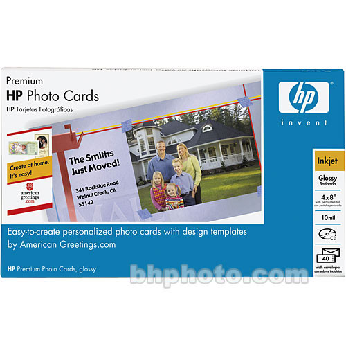 """HP Premium Photo Greeting Cards -  4x8"""" - 40 Cards with Envelopes"""