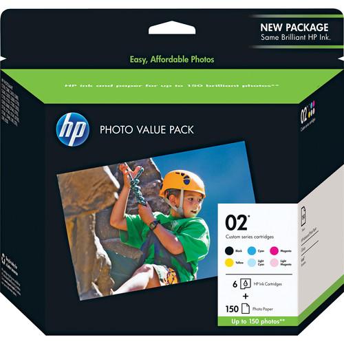 "HP HP 02 Series Inkjet Print Cartridges (10ml) Photo Paper 4x6""- 150 shts"