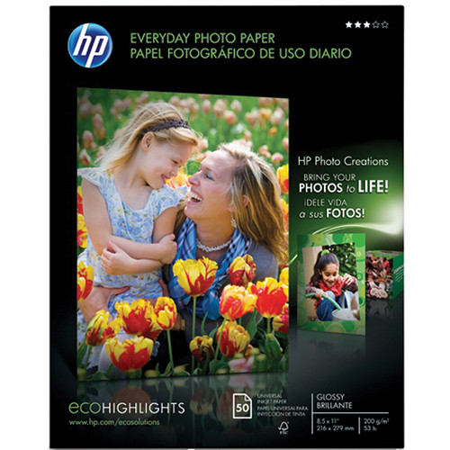 """HP Q8723A Everyday Gloss Photo Paper (Letter, 8.5x11"""", 50 Sheets)"""