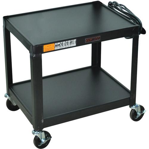 "Luxor W26E  Fixed Height Utility Cart - 24 x 26 x 18"" (Black)"