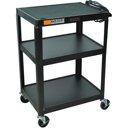 "H. Wilson W34E  Fixed Height Utility Cart - 24 x 34 x 18"" (Black)"