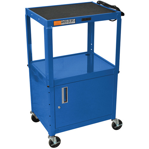 "H. Wilson W42ACEBL  Utility Cart w/Locking Cabinet - Adjustable Height 26"" to 42"" (Blue)"