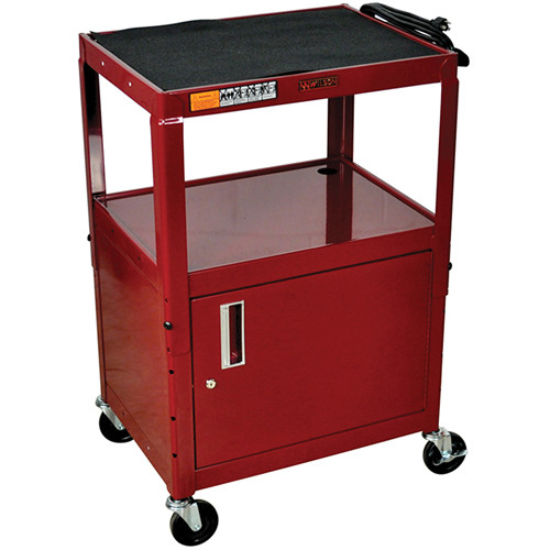 "H. Wilson W42ACEBU  Utility Cart w/Locking Cabinet - Adjustable Height 26"" to 42"" (Burgundy)"