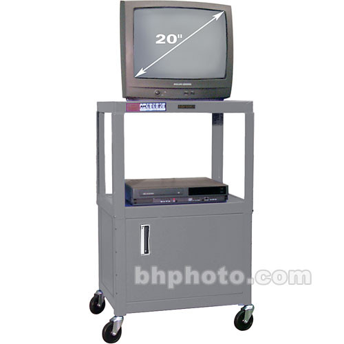 "H. Wilson W42ACEG  Utility Cart w/Locking Cabinet - Adjustable Height 26"" to 42"" (Gray)"