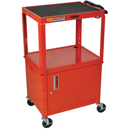 "Luxor W42ACER  Utility Cart w/Locking Cabinet - Adjustable Height 26"" to 42"" (Red)"