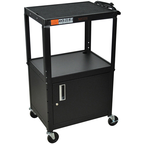"H. Wilson W42ACE  Utility Cart w/Locking Cabinet - Adjustable Height 26"" to 42"" (Black)"