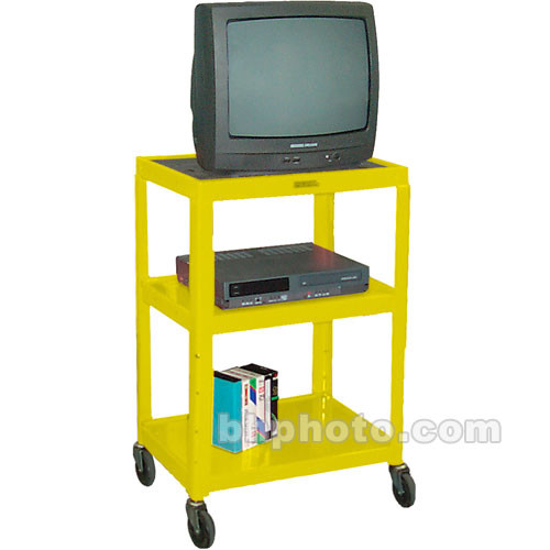 "H. Wilson W42AEY  Metal Open Shelf Utility Cart (24 x 24-42 x 18"") (Yellow)"