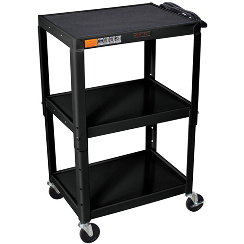 "H. Wilson W42AE  Metal Open Shelf Utility Cart (24 x 24-42 x 18"") (Black)"