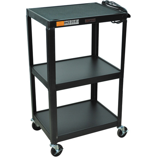 "Luxor W42E  Fixed Height Utility Cart - 24 x 42 x 18"" (Black)"