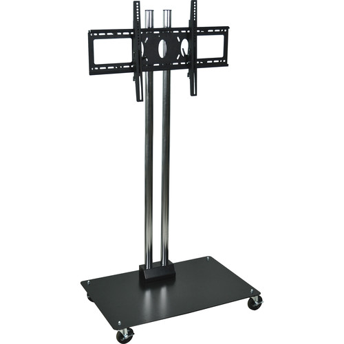 "H. Wilson WPSMS62CH-4 Universal Mobile Flat Panel Display Stand (65"" Height, Black/Chrome)"
