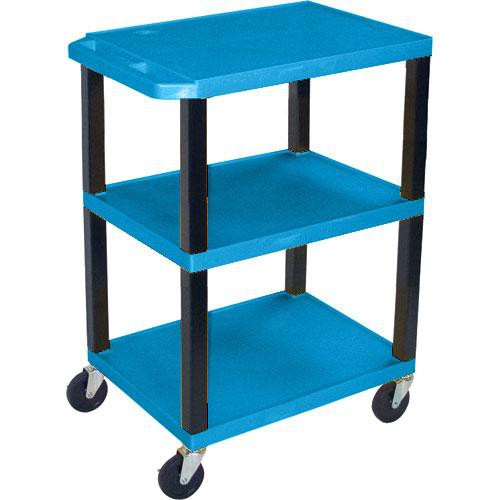 "Luxor WT1642EBL  Tuffy Open Shelf A/V Cart - 24 x 16-42 x 18"" (Blue)"