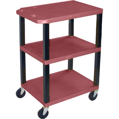"Luxor WT1642EBU  Tuffy Open Shelf A/V Cart - 24 x 16-42 x 18"" (Burgundy)"