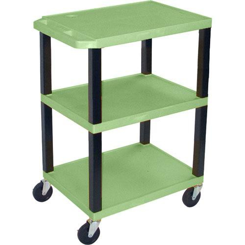 "Luxor WT1642EGQ  Tuffy Open Shelf A/V Cart - 24 x 16-42 x 18"" (Green)"