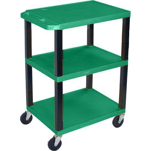 "Luxor WT1642EGR  Tuffy Open Shelf A/V Cart - 24 x 16-42 x 18"" (Hunter Green)"