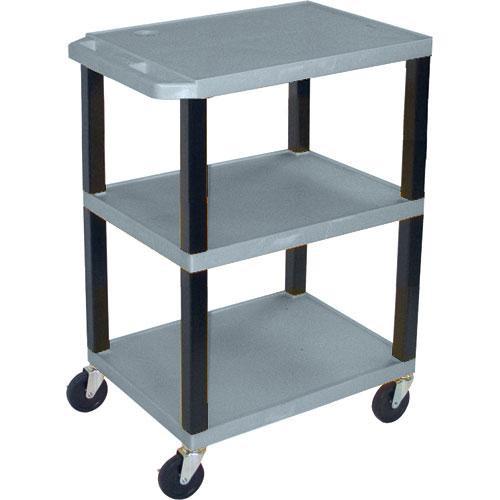 "Luxor WT1642EG  Tuffy Open Shelf A/V Cart - 24 x 16-42 x 18"" (Gray)"