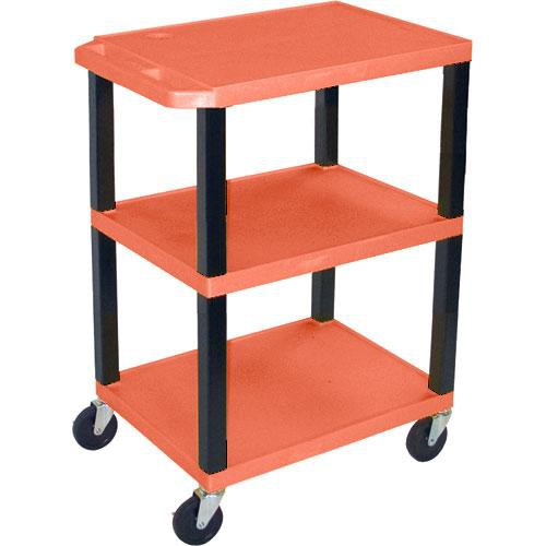 "Luxor WT1642EO  Tuffy Open Shelf A/V Cart - 24 x 16-42 x 18"" (Orange)"