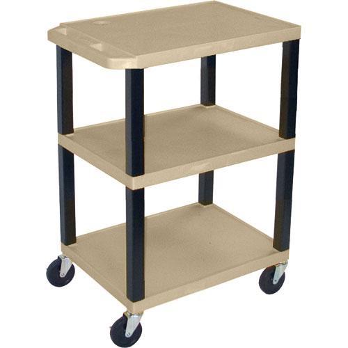 "H. Wilson WT1642EPQ  Tuffy Open Shelf A/V Cart - 24 x 16-42 x 18"" (Putty)"