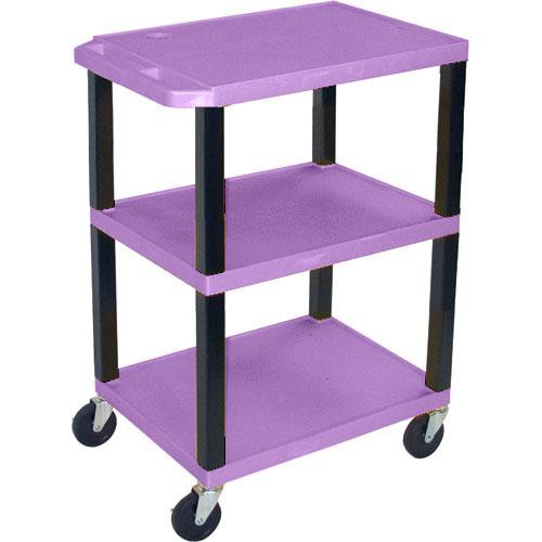 "Luxor WT1642EP  Tuffy Open Shelf A/V Cart - 24 x 16-42 x 18"" (Purple)"
