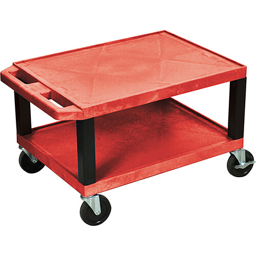 "Luxor WT1642ER  Tuffy Open Shelf A/V Cart - 24 x 16-42 x 18"" (Red)"