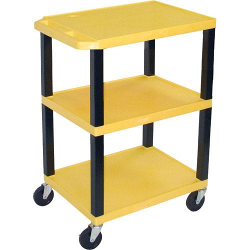 "Luxor WT1642EY  Tuffy Open Shelf A/V Cart - 24 x 16-42 x 18"" (Yellow)"