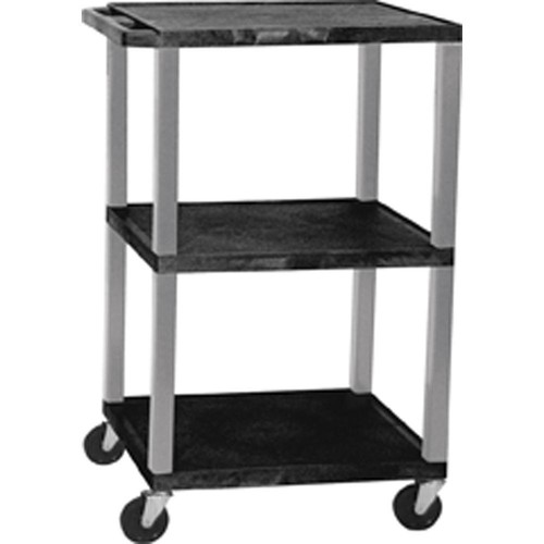 Luxor Multi-Height A/V Cart with 3 Shelves and 3-Outlet Electrical Assembly (Black Shelves, Nickel-Colored Legs)