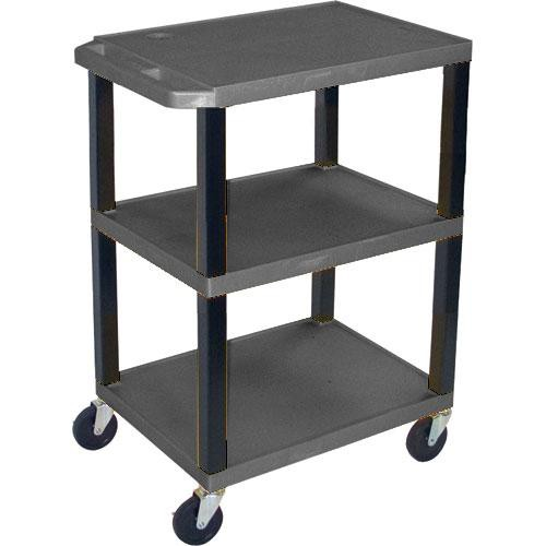 "Luxor WT1642E  Tuffy Open Shelf A/V Cart - 24 x 16-42 x 18"" (Black)"