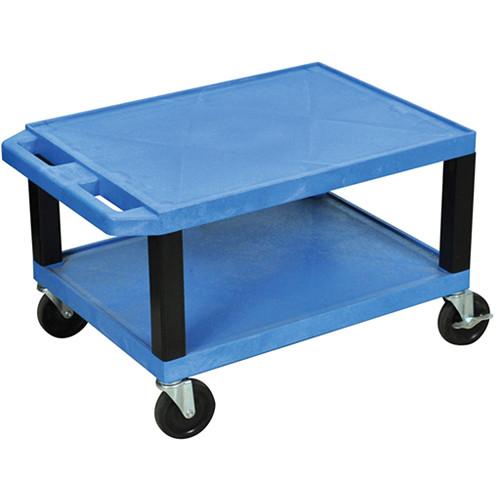 "Luxor WT16EBL  Tuffy Open Shelf A/V Cart (16 x 24 x 18"")  (Blue)"