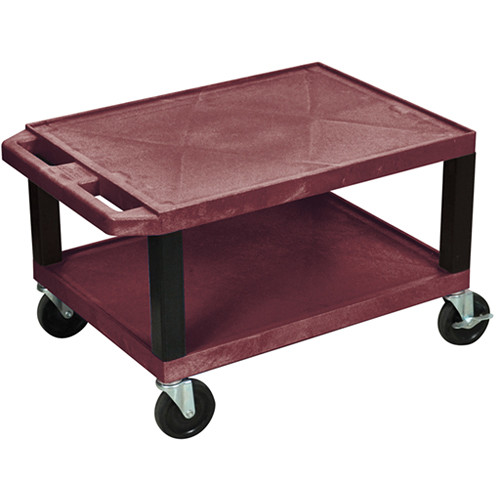 "Luxor WT16EBU  Tuffy Open Shelf A/V Cart (16 x 24 x 18"")  (Burgundy)"