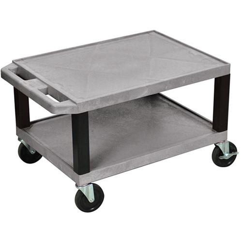 "Luxor WT16EG  Tuffy Open Shelf A/V Cart (16 x 24 x 18"")  (Gray)"