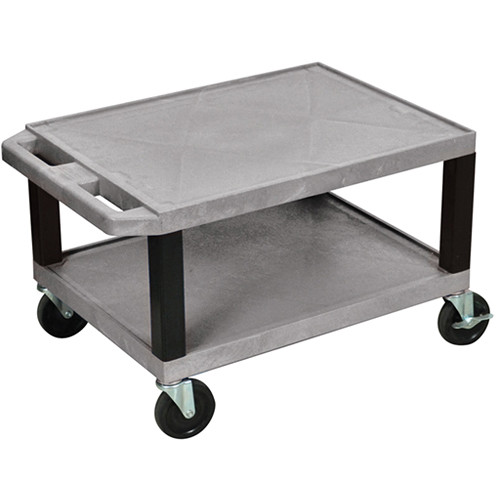 "Luxor WT16EG  Tuffy Open Shelf A/V Cart (16 x 24 x 18"")  (Gray)"