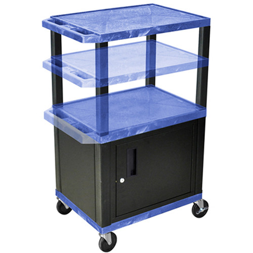 "Luxor Height-Adjustable Tuffy Cabinet Cart with Electrical Assembly (24 x 24.5-42 x 18"", Blue Shelves / Black Cabinet)"